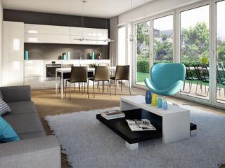Wohnungen Bauträger 3D-Visualisierung winhard 3D Skandinavische Wohnzimmer