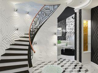 Alena Gorskaya Design Studio Eclectic style corridor, hallway & stairs White
