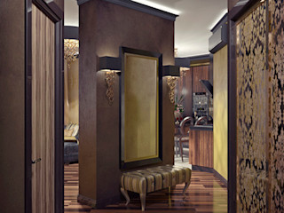 Alena Gorskaya Design Studio Modern corridor, hallway & stairs Brown