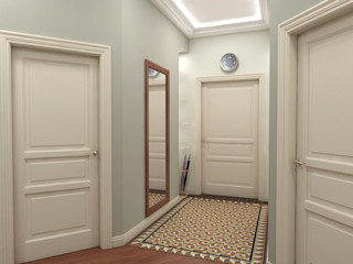 Alena Gorskaya Design Studio Country style corridor, hallway& stairs Blue