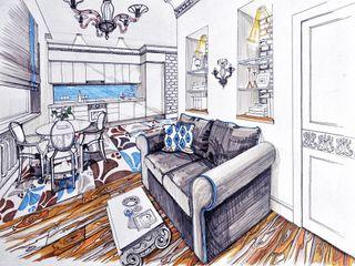 Alena Gorskaya Design Studio Modern dining room Multicolored