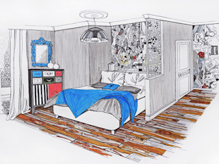 Alena Gorskaya Design Studio Modern style bedroom Blue