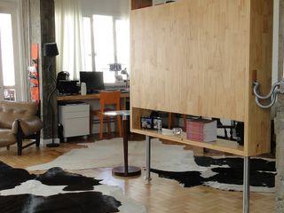 omnibus arquitetura Modern Living Room Solid Wood Multicolored
