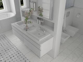 Un salon d'eau en Marbre de Carrare Architecture du bain Salle de bainLavabos Marbre Blanc
