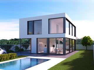 NUÑO ARQUITECTURA Casas modernas: Ideas, imágenes y decoración Aglomerado Blanco
