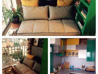 Ana Levy | Arquitetura + Interiores Balkon, Beranda & Teras Modern