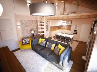 Andreia Louraço - Designer de Interiores (Email: andreialouraco@gmail.com) Salas de estilo moderno Piedra Gris