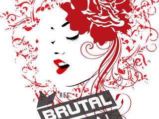 Silhueta artística da face de uma mulher com rosa no cabelo - 4 cores BrutalVisual ArteOutras obras de arte Vermelho