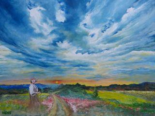 Ölmalerei Wolken Dietrich Art Kunst Bilder & Gemälde Flachs/Leinen Blau