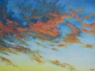 Ölmalerei Wolken Dietrich Art Kunst Bilder & Gemälde Flachs/Leinen Orange