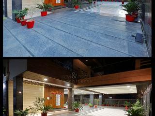 RAVI - NUPUR ARCHITECTS Balcones y terrazas de estilo moderno Granito Negro