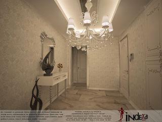 İNDEKSA Mimarlık İç Mimarlık İnşaat Taahüt Ltd.Şti. Classic style corridor, hallway and stairs Granite White