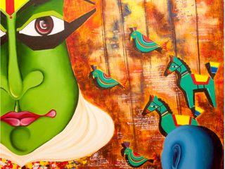 Indian Art Ideas ArteImagens e pinturas Linho Laranja