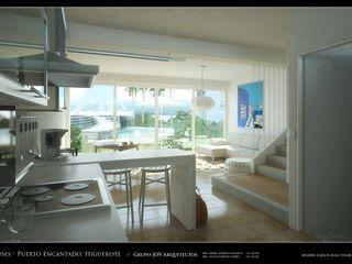 RESIDENCIAS COSTA BLANCA Grupo JOV Arquitectos Pasillos, vestíbulos y escaleras de estilo minimalista Mármol Blanco