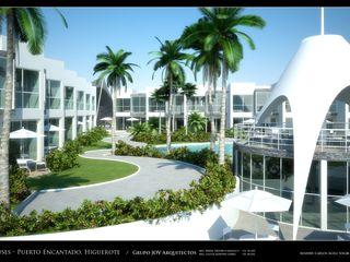 RESIDENCIAS COSTA BLANCA Grupo JOV Arquitectos Jardines de estilo minimalista Piedra Gris