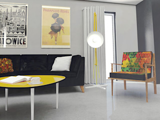 Retro mustard! Arch/tecture Eklektyczny salon