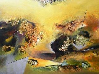 Indian Art Ideas ArteImagens e pinturas Linho Ambar/dourado