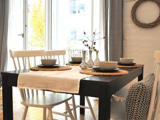 kleine Musterwohnung in schwarz-weiß Karin Armbrust - Home Staging Skandinavische Esszimmer