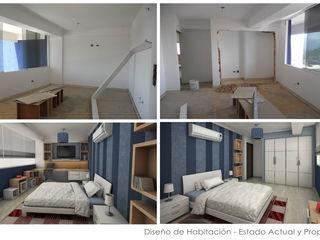 Diseño de Interiores de Apto. Residencial 5D Proyectos Cuartos de estilo moderno Azul