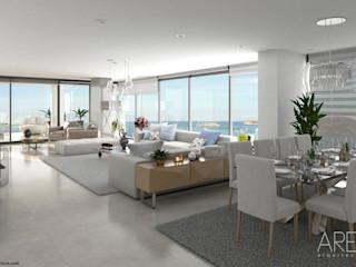 Area5 arquitectura SAS Modern Oturma Odası Seramik Beyaz