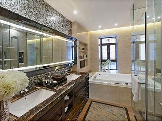 Hotel Bathroom in Foshan, China ShellShock Designs Asian style hotels Tiles Black