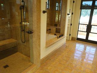 Golden Lip Mother of Pearl Bathroom ShellShock Designs Tropical style bathroom Tiles Multicolored