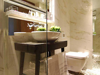 Sherlock Holmes Featuring Porcel-Thin Ferrara Marble Porcelain Tiles Porcel-Thin Classic hotels Marble White
