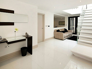 A development of 5 luxury houses in Primrose Hill Porcel-Thin Modern corridor, hallway & stairs Tiles White