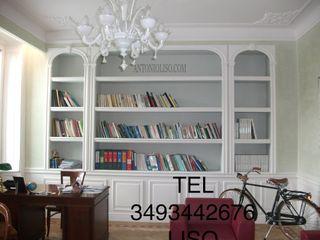 Libreria in cartongesso con decori in gesso Antonio liso Studio in stile classico