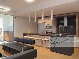 Proyecto unifamiliar Apartamento El Parral Arq.AngelMedina+ Cocinas de estilo minimalista Madera Marrón