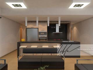 Proyecto unifamiliar Apartamento El Parral Arq.AngelMedina+ Salas de estilo minimalista Madera Marrón