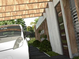 Concurso de diseño: Vivienda Unifamiliar de Bajo Costo (mencion honorifica) Arq.AngelMedina+ Garajes y galpones de estilo minimalista Concreto Gris
