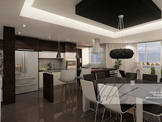 Apartamento Residencial Arq.AngelMedina+ Cocinas de estilo minimalista Madera Negro