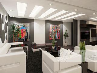 Apartamento Residencial Arq.AngelMedina+ Salas de estilo minimalista Madera Negro