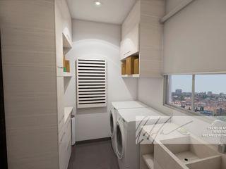 Apartamento Residencial Arq.AngelMedina+ Bodegas de vino de estilo minimalista Madera Blanco