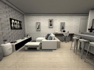 MV Arquitetura e Design モダンデザインの リビング