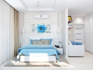 ЖК Парковые Озера. Интерьер для молодой пары с перспективой. Tatiana Zaitseva Design Studio Спальня в стиле минимализм Бежевый