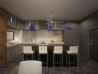 ANGOLO-grado arquitectónico Cocinas de estilo moderno Gris