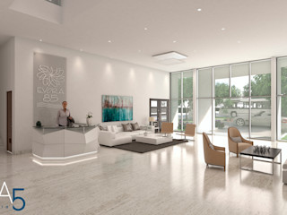 Area5 arquitectura SAS Modern Koridor, Hol & Merdivenler Mermer Beyaz