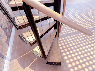 Spiral staircase to the mezzanine Railing London Ltd Modern corridor, hallway & stairs