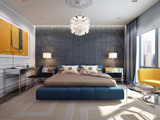 New York. New York KAPRANDESIGN Спальня в эклектичном стиле Синий
