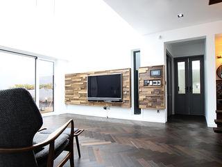 엔디하임 - ndhaim 现代客厅設計點子、靈感 & 圖片 Wood effect