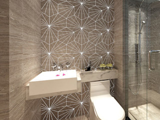 Water Jet Mosaics in Various China Projects ShellShock Designs Modern bathroom Tiles Multicolored
