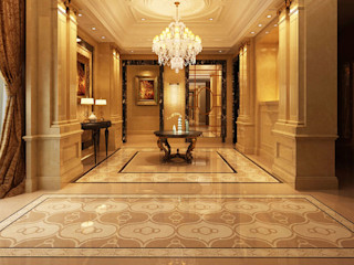 Water Jet Mosaics in Various China Projects ShellShock Designs Modern Corridor, Hallway and Staircase Tiles Multicolored
