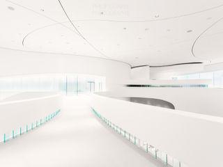 Leonardo Glass Cube Interior Philip Gunkel Photographie Moderne Geschäftsräume & Stores