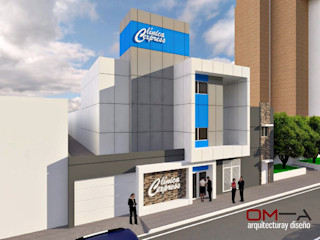 Diseño de fachada para Clínica Express om-a arquitectura y diseño Casas de estilo minimalista