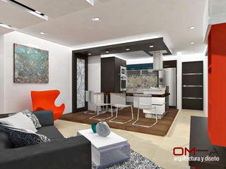 Diseño interior de sala y cocina om-a arquitectura y diseño Cocinas de estilo minimalista