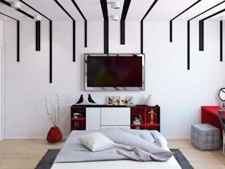 Квартира в ярких тонах Tatiana Zaitseva Design Studio Спальня в стиле минимализм