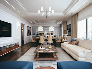 New York. Living room. Part I KAPRANDESIGN Гостиная в классическом стиле Камень Бежевый