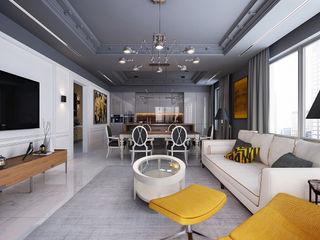 New York. Living room. Part I KAPRANDESIGN Гостиные в эклектичном стиле Мрамор Серый